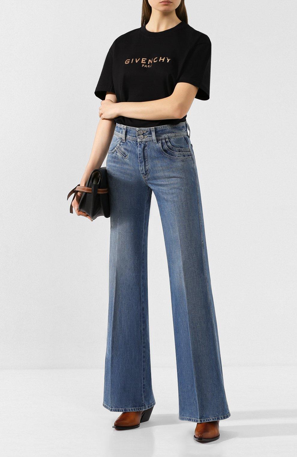 Женские расклешенные джинсы GIVENCHY синего цвета, арт. BW50EK50CB | Фото 2