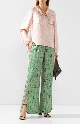 Женские шелковые брюки LANVIN зеленого цвета, арт. RW-TR505I-4231-H19 | Фото 2