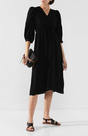 Женское платье из смеси хлопка и шелка ISABEL MARANT черного цвета, арт. R01494-19A020I/MENDA | Фото 2