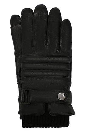 Мужские кожаные перчатки BOSS черного цвета, арт. 50416321 | Фото 1