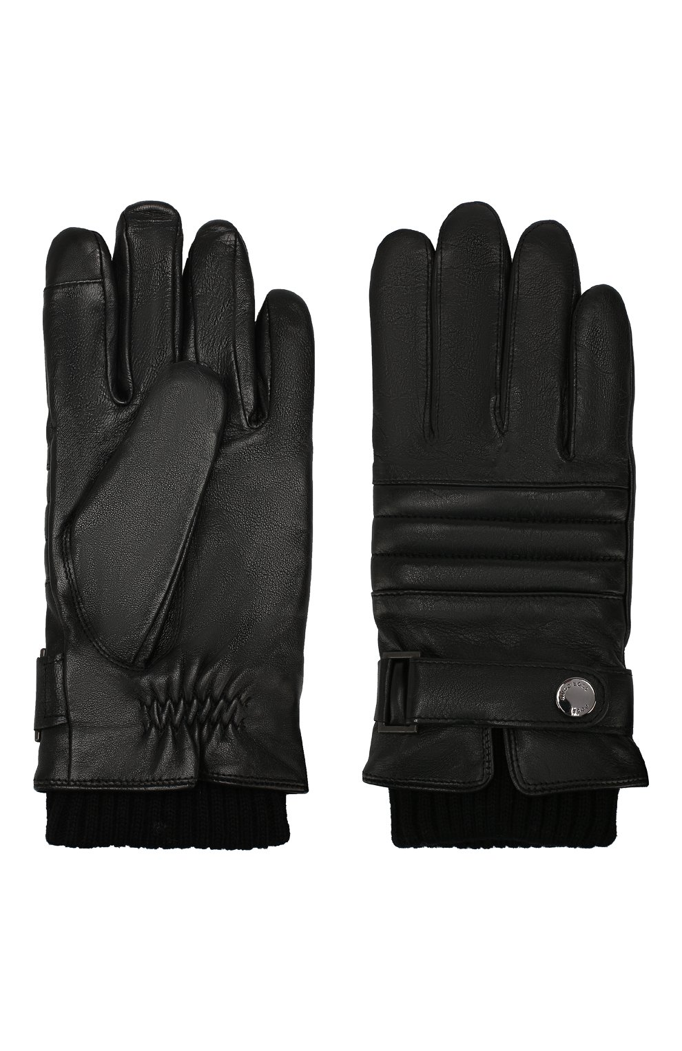 Мужские кожаные перчатки BOSS черного цвета, арт. 50416321 | Фото 2