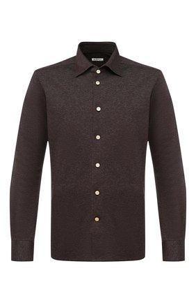 Мужская хлопковая рубашка KITON коричневого цвета, арт. UMCNERH0715311 | Фото 1