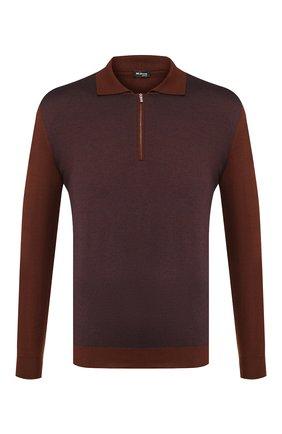 Мужское поло из смеси кашемира и шелка KITON коричневого цвета, арт. UK1106 | Фото 1