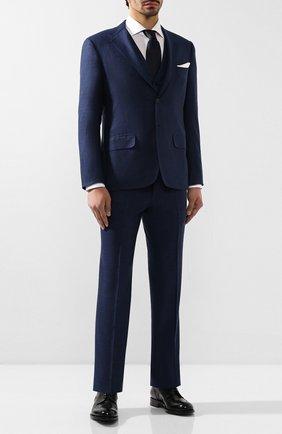 Мужской шерстяной костюм-тройка KITON темно-синего цвета, арт. UAGL81K01X39 | Фото 1