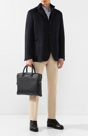 Мужская кожаная сумка для ноутбука BRIONI темно-синего цвета, арт. 0IUB0L/04702 | Фото 2