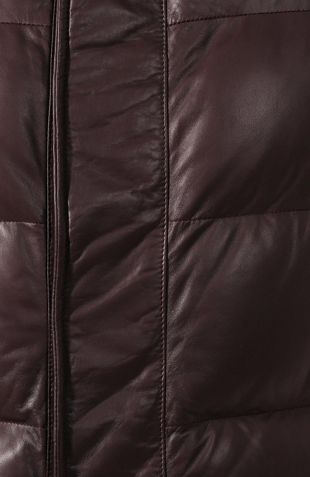 Мужской кожаный бомбер BRIONI бордового цвета, арт. PUE60L/08720 | Фото 5