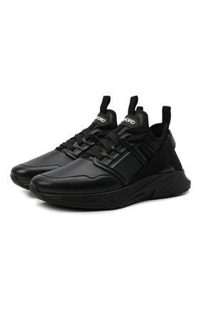 Мужские кожаные кроссовки TOM FORD черного цвета, арт. J1212T-LNL004 | Фото 1
