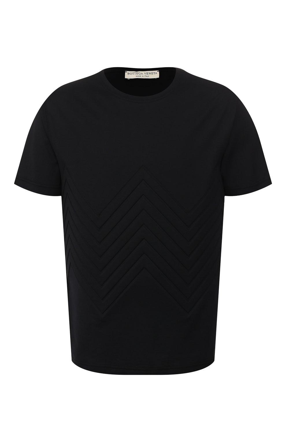 Мужская хлопковая футболка BOTTEGA VENETA черного цвета, арт. 595619/VKAB0 | Фото 1