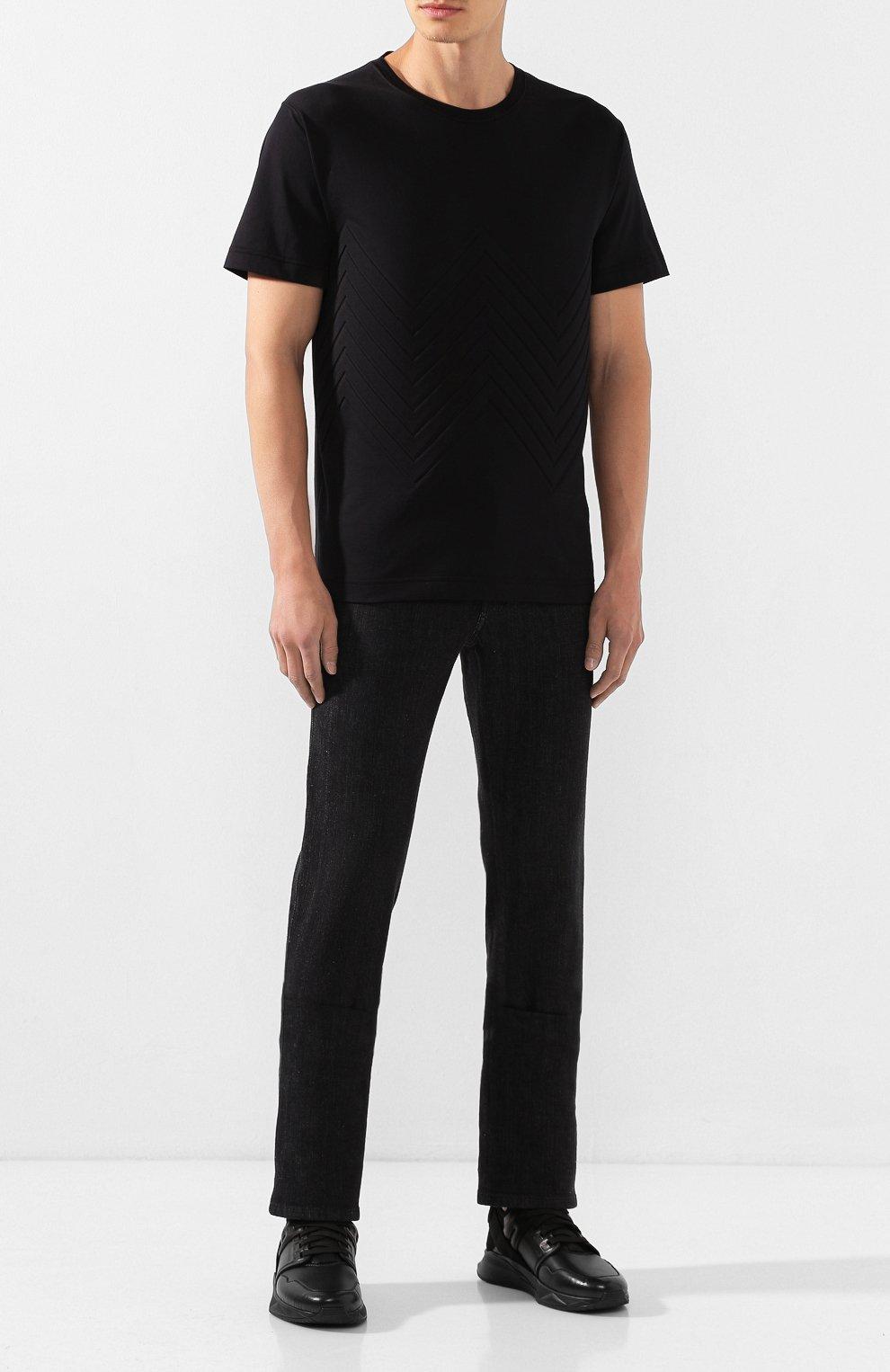 Мужская хлопковая футболка BOTTEGA VENETA черного цвета, арт. 595619/VKAB0 | Фото 2