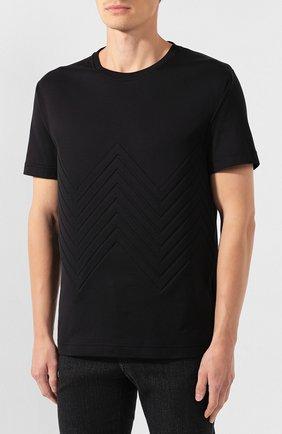 Мужская хлопковая футболка BOTTEGA VENETA черного цвета, арт. 595619/VKAB0 | Фото 3