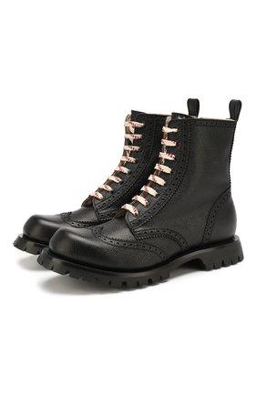 Мужские кожаные ботинки GUCCI черного цвета, арт. 575110/DHRG0 | Фото 1