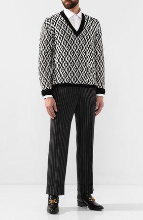 Мужской шерстяной пуловер GUCCI черно-белого цвета, арт. 595512/XKA0Y | Фото 2