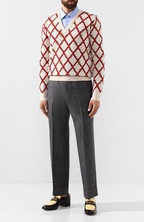 Мужской шерстяные брюки GUCCI серого цвета, арт. 595494/ZACFM | Фото 2
