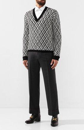 Мужской шерстяные брюки GUCCI темно-серого цвета, арт. 595494/ZACET | Фото 2