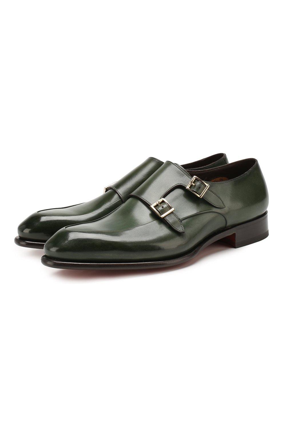 Мужские кожаные монки SANTONI зеленого цвета, арт. MCCR16040MC1HVVDV54   Фото 1