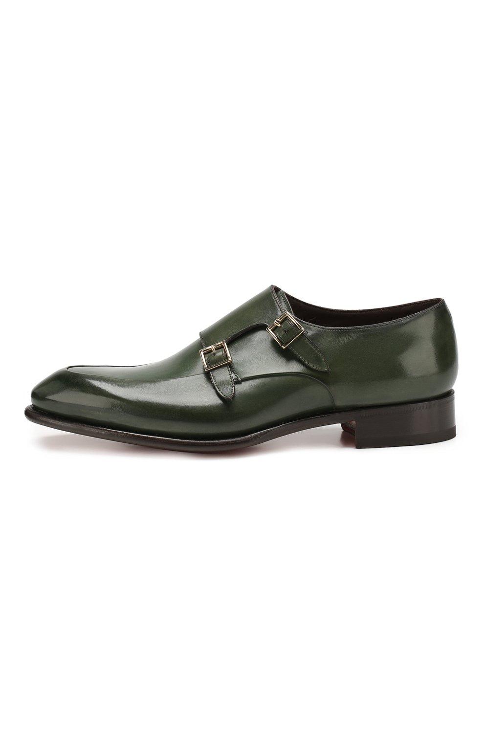 Мужские кожаные монки SANTONI зеленого цвета, арт. MCCR16040MC1HVVDV54   Фото 3