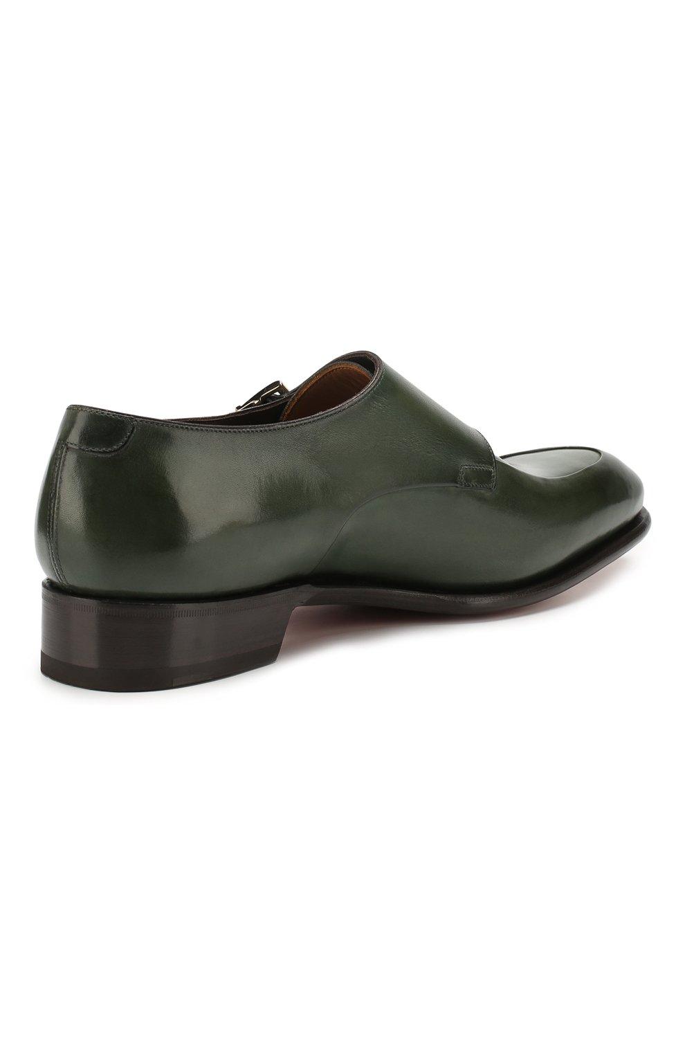 Мужские кожаные монки SANTONI зеленого цвета, арт. MCCR16040MC1HVVDV54   Фото 4
