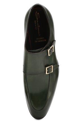 Мужские кожаные монки SANTONI зеленого цвета, арт. MCCR16040MC1HVVDV54   Фото 5