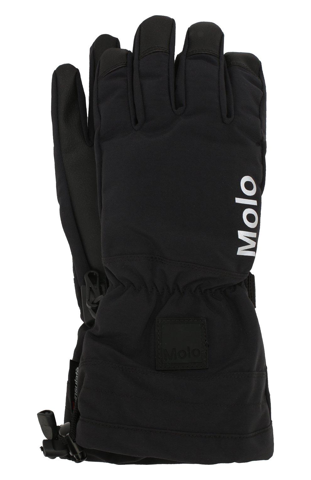 Детские перчатки MOLO черного цвета, арт. 7W19S206   Фото 1