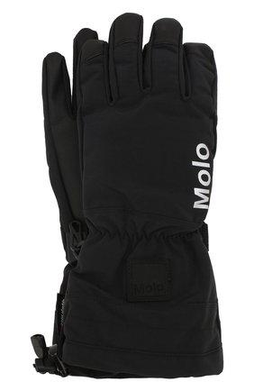 Детские перчатки MOLO черного цвета, арт. 7W19S206 | Фото 1