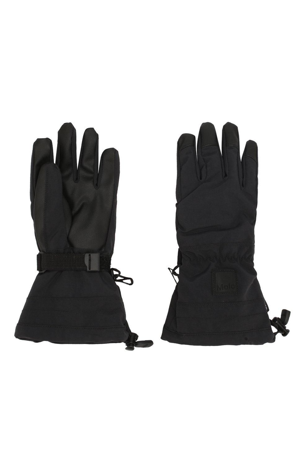 Детские перчатки MOLO черного цвета, арт. 7W19S206   Фото 2