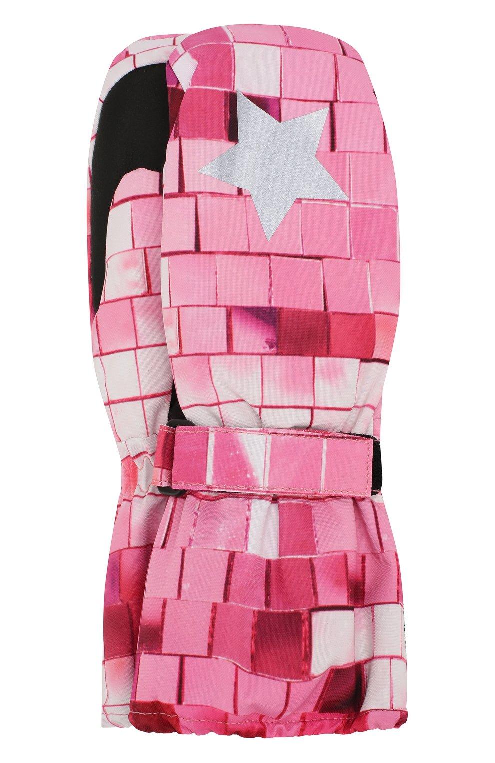 Детские варежки MOLO розового цвета, арт. 7W19S104 | Фото 1 (Материал: Текстиль, Синтетический материал; Статус проверки: Проверена категория)