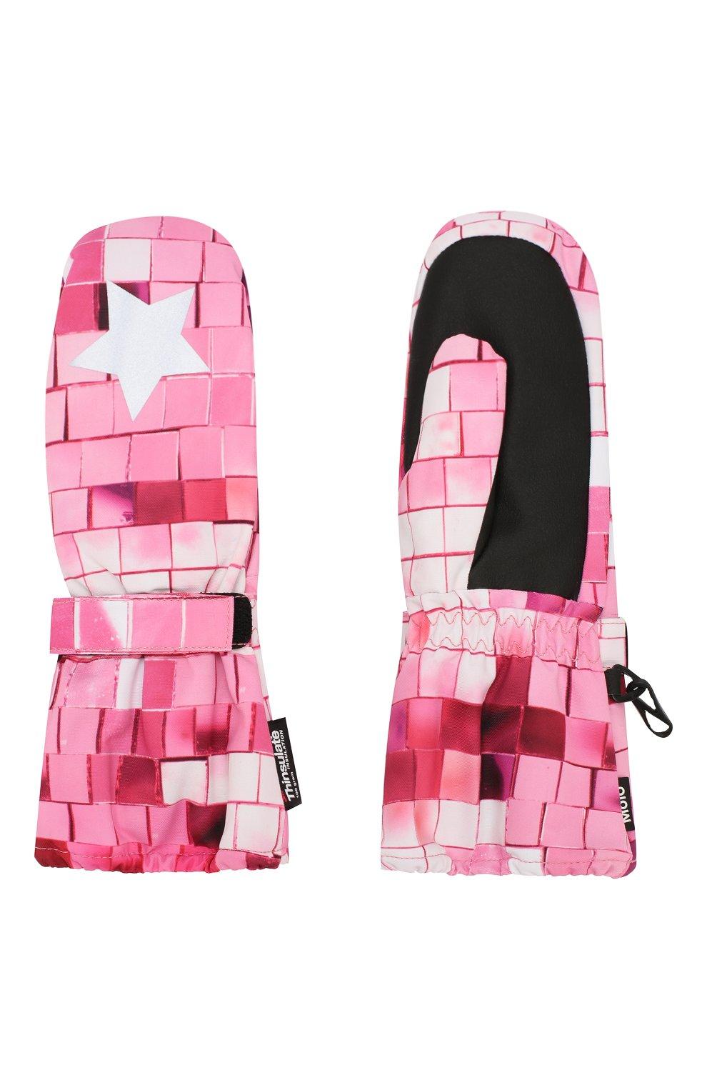 Детские варежки MOLO розового цвета, арт. 7W19S104 | Фото 2 (Материал: Текстиль, Синтетический материал; Статус проверки: Проверена категория)