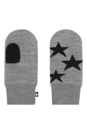 Детские варежки MOLO серого цвета, арт. 7W19S102 | Фото 2