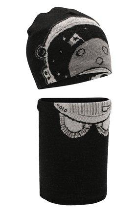 Детский комплект из шапки и шарфа MOLO черного цвета, арт. 7W19S309 | Фото 1