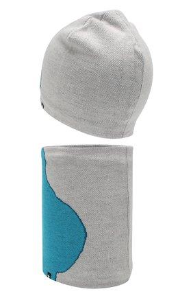 Детский комплект из шапки и шарфа MOLO серого цвета, арт. 7W19S309 | Фото 2