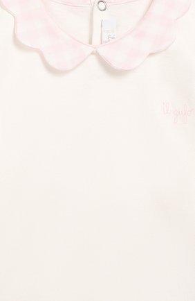 Детский хлопковый лонгслив IL GUFO белого цвета, арт. A19TA182M0094/3M-9M   Фото 3 (Рукава: Длинные; Статус проверки: Проверено, Проверена категория)