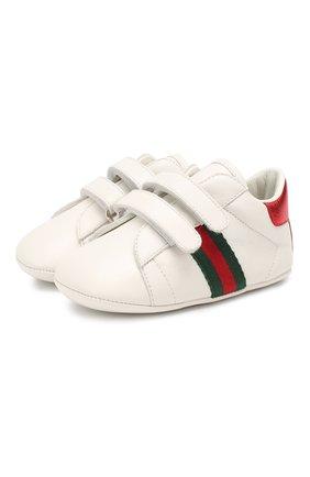 Детского кожаные кроссовки GUCCI белого цвета, арт. 500852/BKPT0 | Фото 1