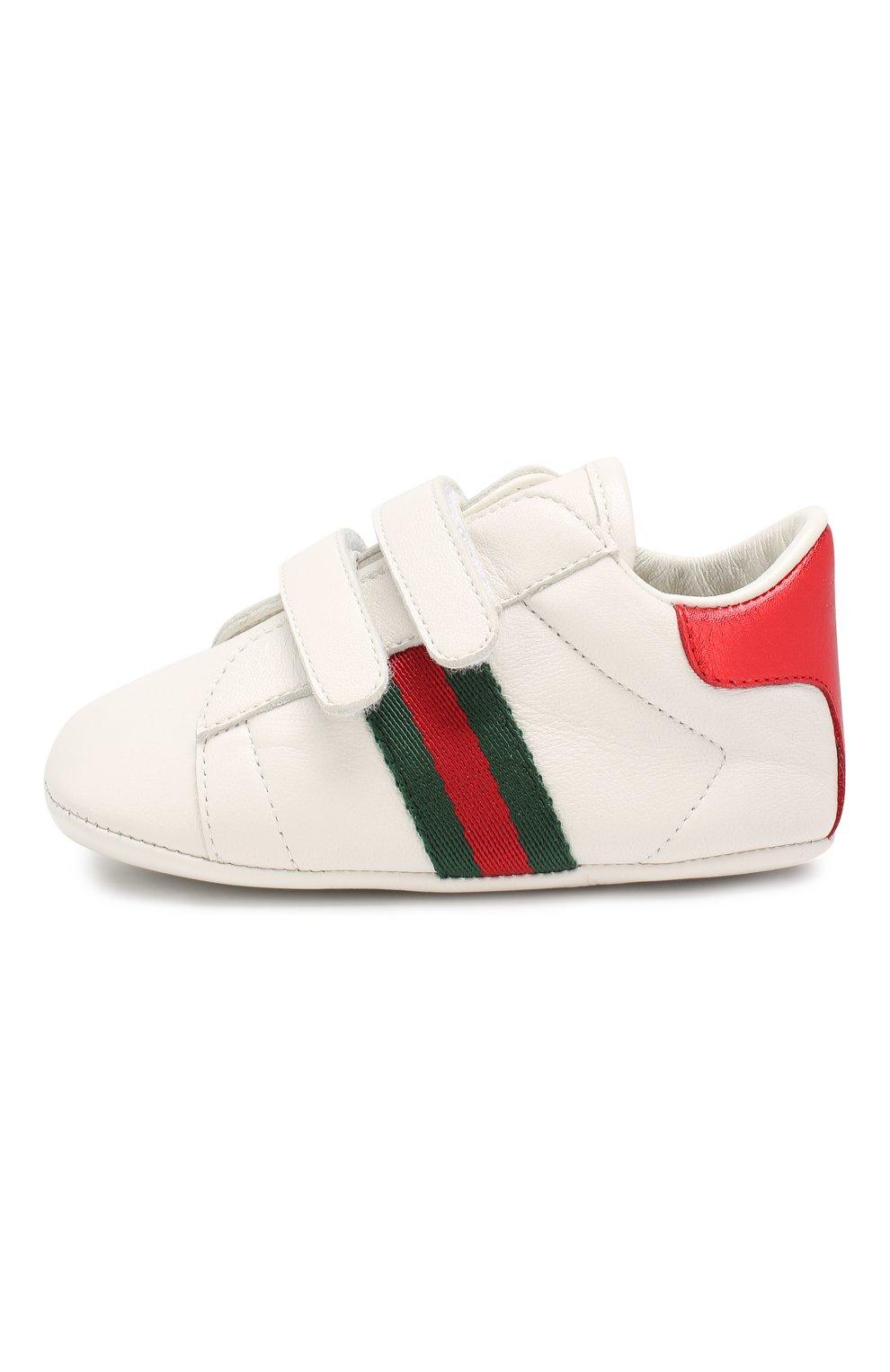 Детского кожаные кроссовки GUCCI белого цвета, арт. 500852/BKPT0 | Фото 2