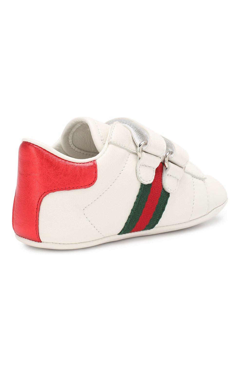 Детского кожаные кроссовки GUCCI белого цвета, арт. 500852/BKPT0 | Фото 3