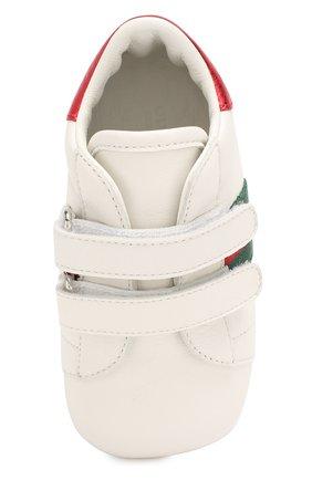 Детского кожаные кроссовки GUCCI белого цвета, арт. 500852/BKPT0 | Фото 4