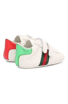 Детского кожаные кроссовки GUCCI белого цвета, арт. 500852/BKPT0 | Фото 5