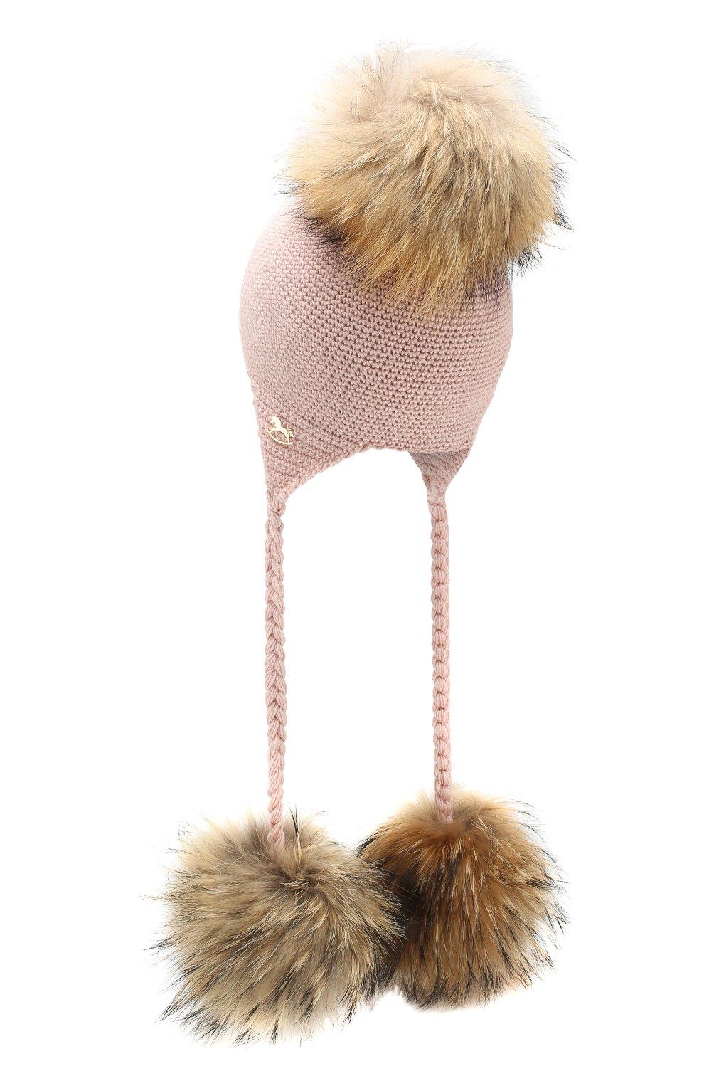 Детского шерстяная шапка CASILDA Y JIMENA розового цвета, арт. 755173028   Фото 2