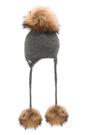 Детского шерстяная шапка CASILDA Y JIMENA серого цвета, арт. 755173018 | Фото 2