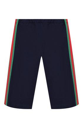 Детские брюки из вискозы GUCCI синего цвета, арт. 578064/XJBEC | Фото 1