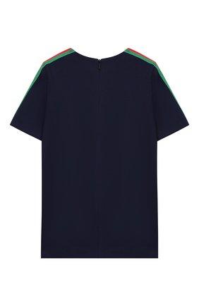 Детский футболка из вискозы GUCCI синего цвета, арт. 578063/XJBEB | Фото 2