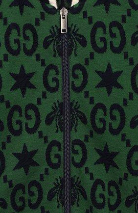 Детский кардиган GUCCI зеленого цвета, арт. 575040/XJA98 | Фото 3