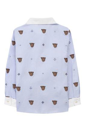 Детский хлопковая рубашка GUCCI голубого цвета, арт. 574556/XWAFM | Фото 2