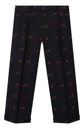 Детские хлопковые брюки GUCCI темно-синего цвета, арт. 569473/XWAE0 | Фото 1