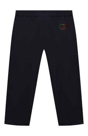 Детские хлопковые брюки GUCCI синего цвета, арт. 564594/XWAEY | Фото 2