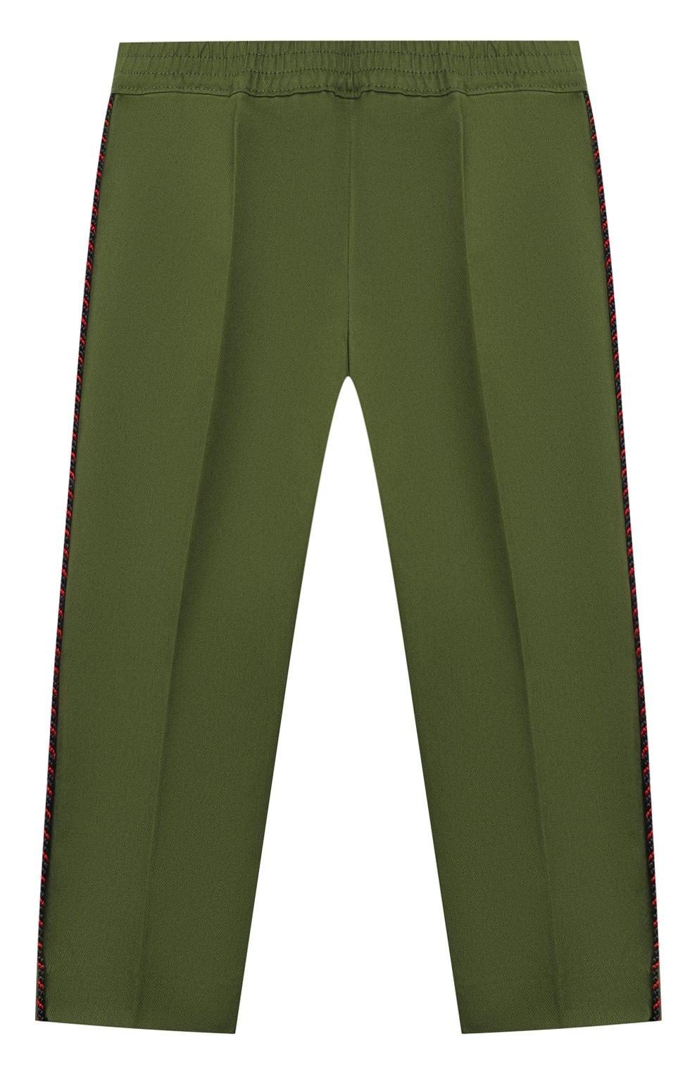Детские хлопковые брюки GUCCI хаки цвета, арт. 564594/XWAEY | Фото 1