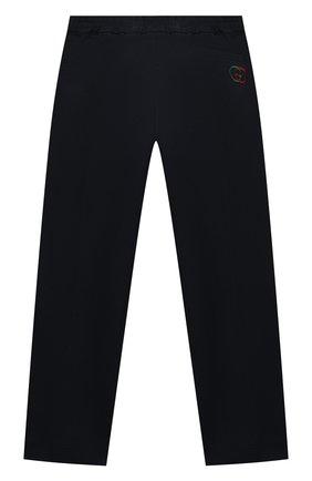 Детские хлопковые брюки GUCCI синего цвета, арт. 564593/XWAEY | Фото 2