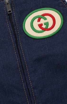 Детский джинсовый комбинезон GUCCI синего цвета, арт. 512218/XJA63 | Фото 3