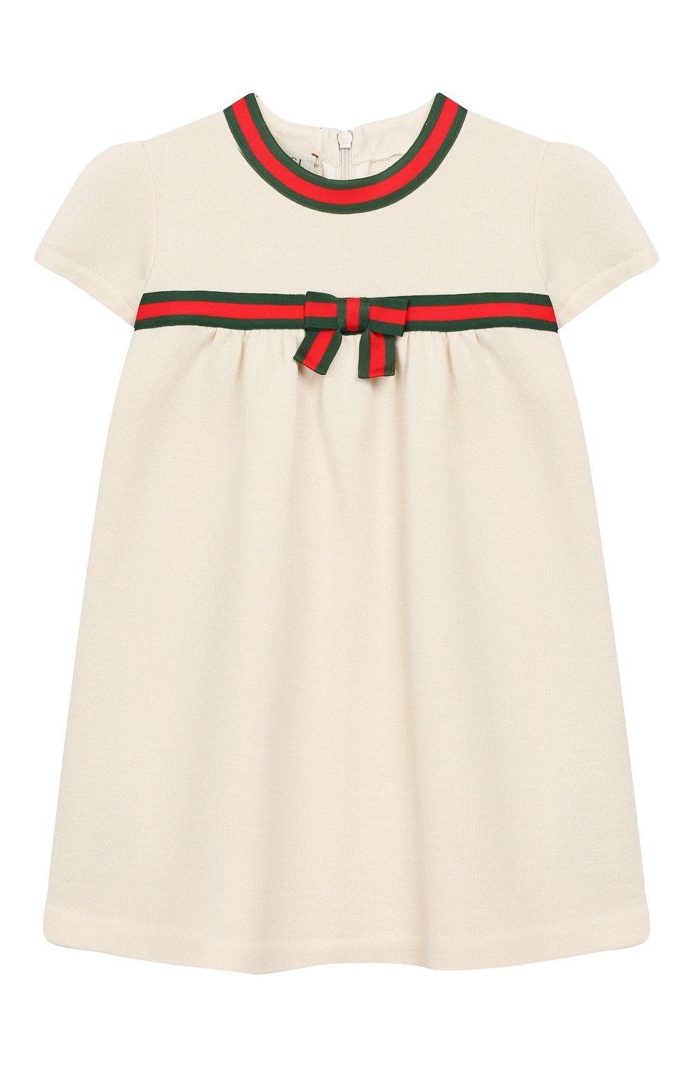 Женский хлопковое платье GUCCI белого цвета, арт. 478384/X9A79 | Фото 1
