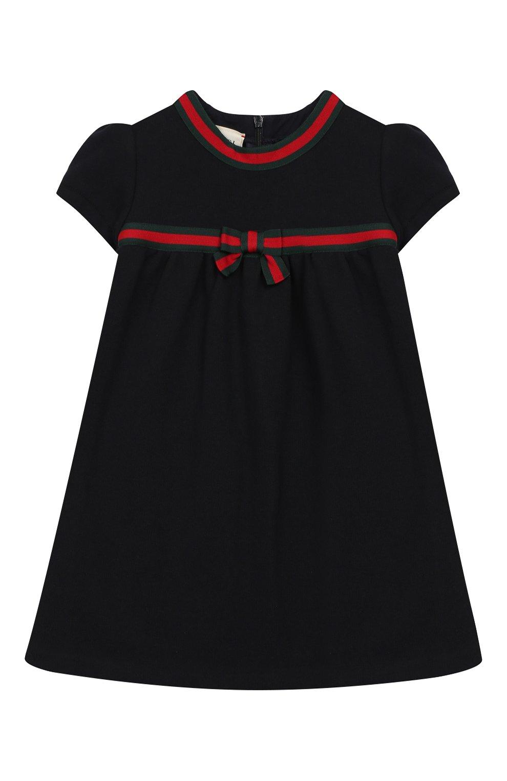 Женская хлопковое платье GUCCI синего цвета, арт. 478384/X9A79   Фото 1