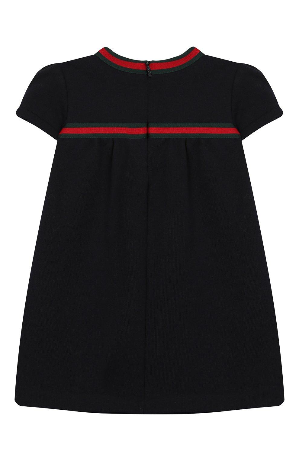 Женская хлопковое платье GUCCI синего цвета, арт. 478384/X9A79   Фото 2